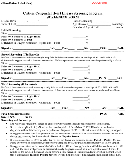 CCHD Screening Form